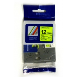 CINTA COMPATIBLE TZ2-C31 Negro / Amarillo Fluorerente 12mm x