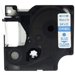 CINTA COMPATIBLE DM1 45801 19mm AZUL/TRANSPARENTE