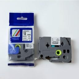 CINTA Compatible CTZ2-S141 18mm NEGRO/TRANSPARENTE
