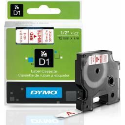 CINTA D1 DYMO 45015 12mm ROJO/BLANCO