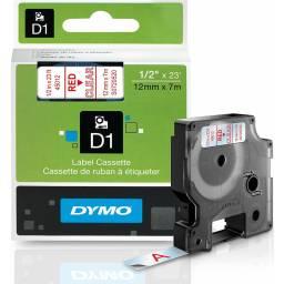 CINTA D1 DYMO 45012 12mm ROJO/TRANSPARENTE