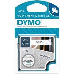 CINTA DYMO D1 16955  Permanente  12mm X5.5m NEGRO/BLANCO
