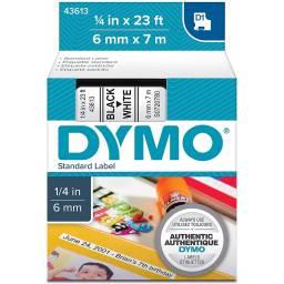 CINTA DYMO D1 43613 6mm NEGRO/BLANCO