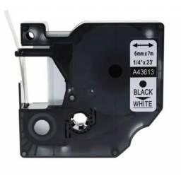 CINTA COMPATIBLE  DM1 43613 6mm NEGRO/BLANCO