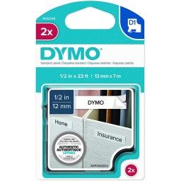 Pack x2 CINTA D1 DYMO 45013 12mm NEGROBLANCO