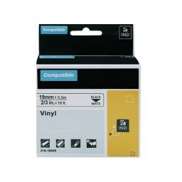 CINTA COMPATIBLE RHINO VINILO 18445 19mmX5,5m Negro/Blanco