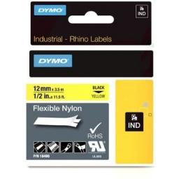 Cinta Flex Nylon DYMO RHINO 18490 12mmX3,5m  Negro/Amarillo