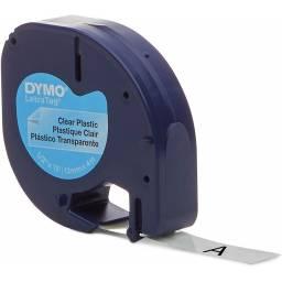 CINTA PLASTICA DYMO LETRATAG LT16952 12mmX4m Negro/Transpare