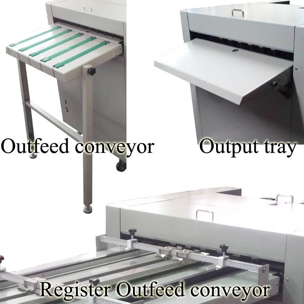 Varias opciones de salida (Bandeja - Banda transportadora - Banda con ajuste de registro).