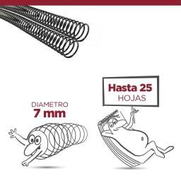 ESPIRAL PLASTICO 07 MM - PACK X 100