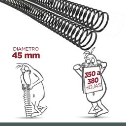 ESPIRAL PLASTICO 45MM - PACK X 16