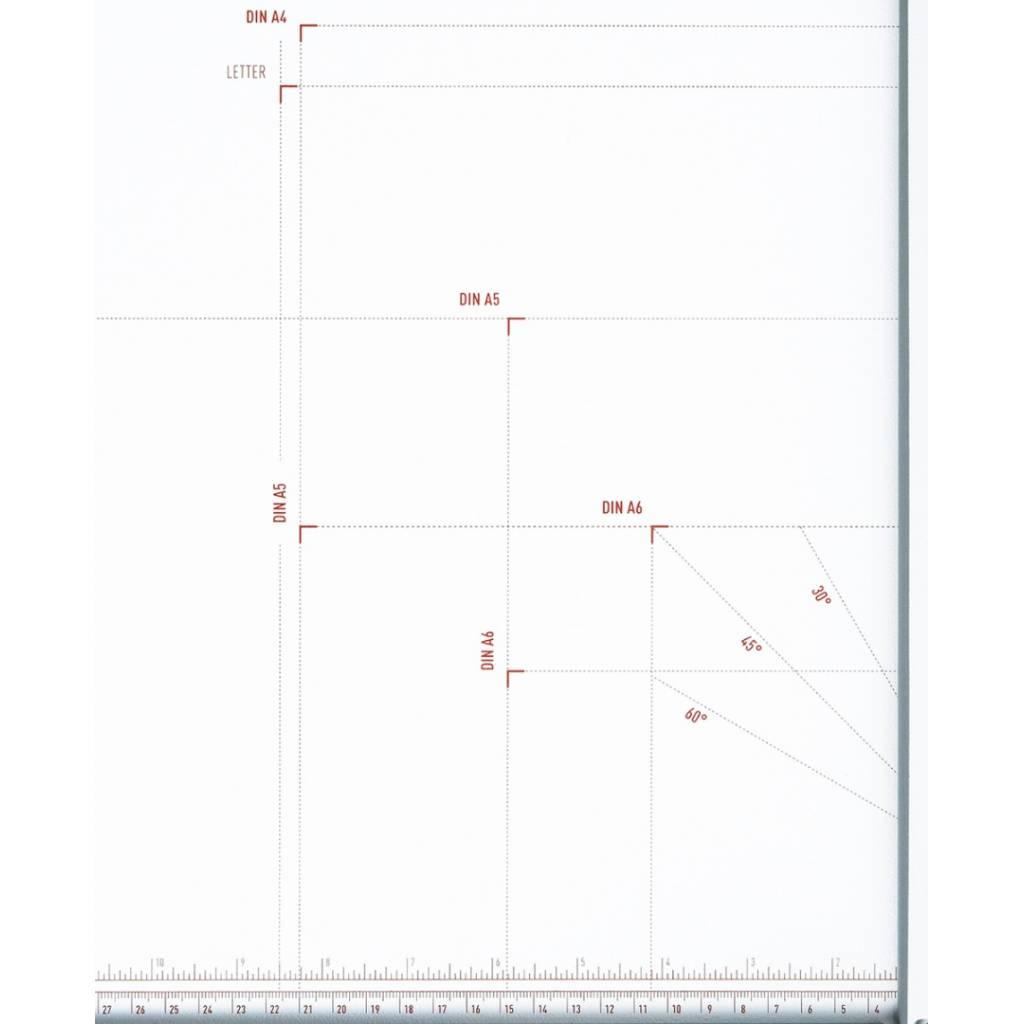Gran formato y capacidad con  indicaciones de varios formatos y ángulos impresos en la mesa.