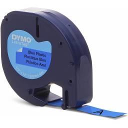 CINTA PLASTICA DYMO LETRATAG LT91335 12mmX4m Negro/Azul